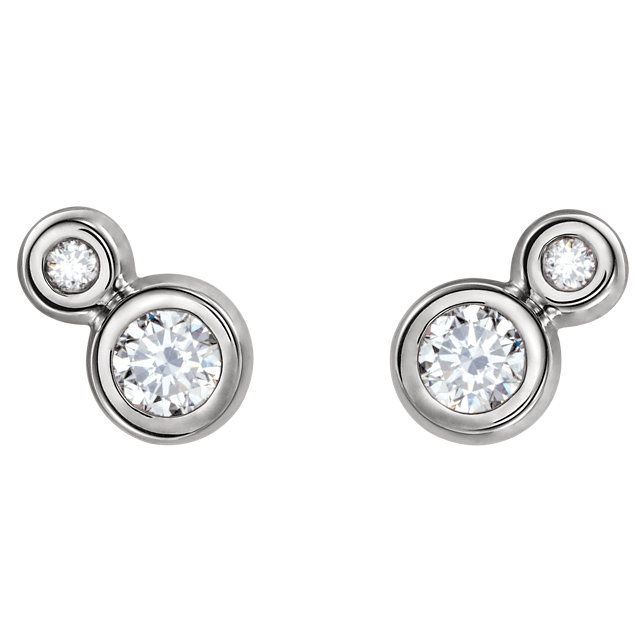 14K White Sapphire & .03 CTW Diamond Earrings