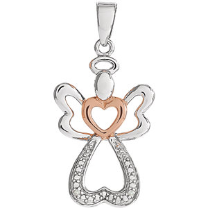 Sterling Silver &  14K Rose Gold Vermeil 28x12.6mm Diamond Angel Pendant