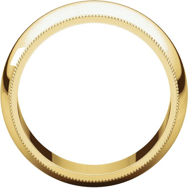 14K Yellow 8 mm Milgrain Half Round Band Size 10