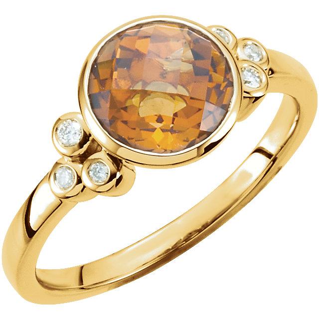 Citrine & Diamond Accented Ring