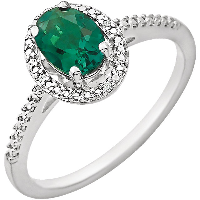 Sterling Silver Lab Created Emerald & .01 CTW Diamond Ring
