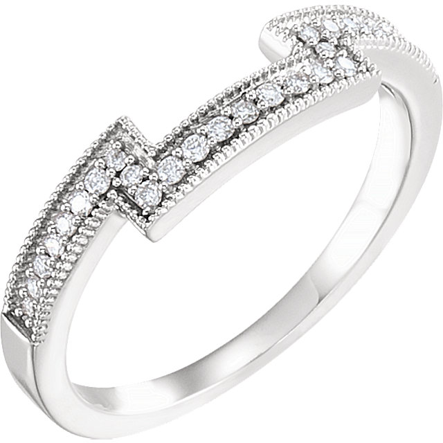 14K White 1/8 CTW Diamond Band for 5.5mm Square Ring
