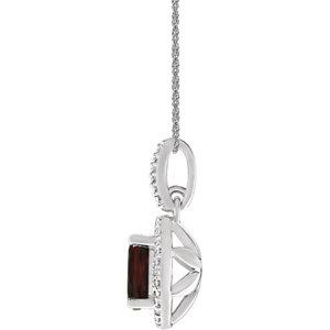 Sterling Silver Mozambique Garnet & .01 CTW Diamond 18