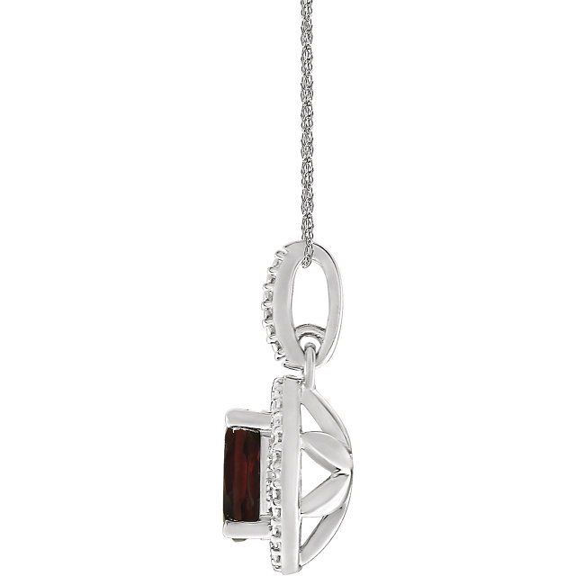 Sterling Silver Mozambique Garnet & .01 CTW Diamond 18