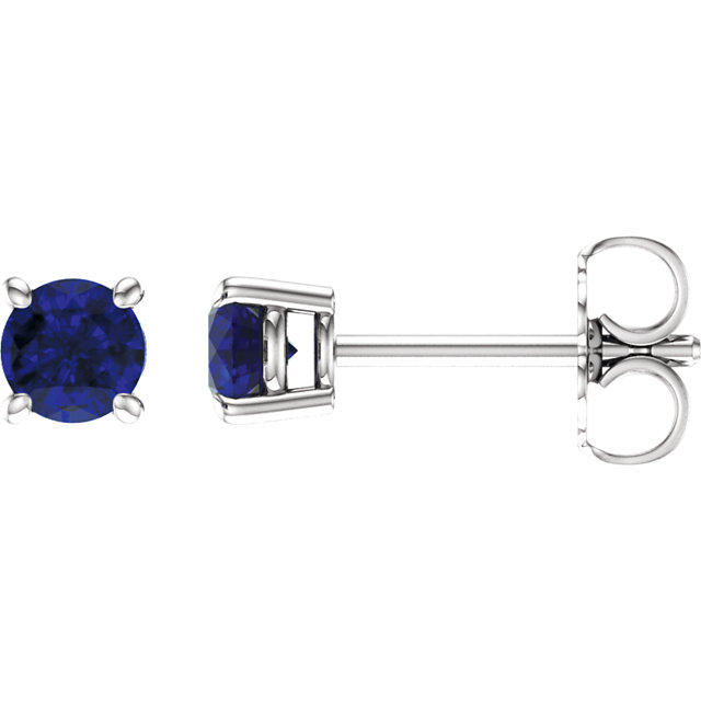 14K White 4 mm Round Chatham® Created Blue Sapphire Earrings
