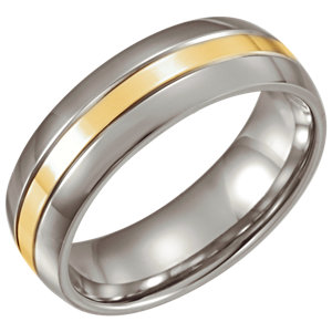 Stainless Steel & 14K Yellow Gold Inlay 6.3mm Band Size 6