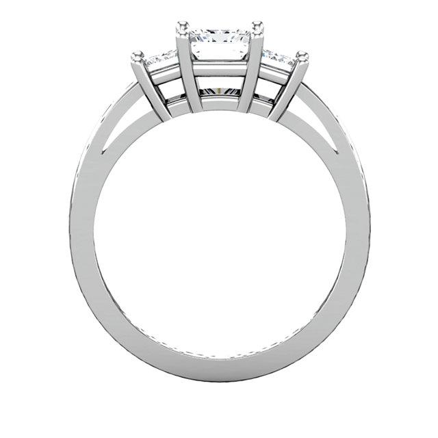 14K White 3.5x3.5mm Round 1/2 CTW Diamond 3-Stone Engagement Ring