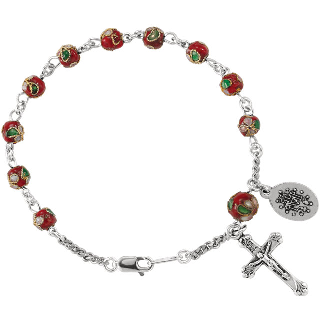 Sterling Silver Red Cloisonné Rosary 7 1/2