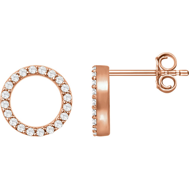 14K Rose 1/5 CTW Diamond Circle Earrings