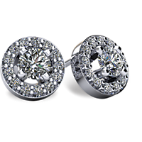Halo-Style Diamond Stud Earrings with Friction Backs