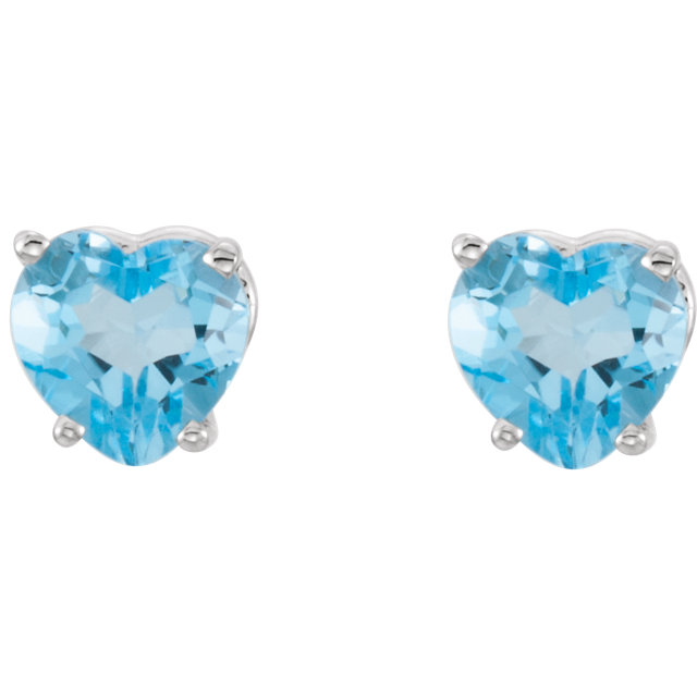 14K White Swiss Blue Topaz Heart Earrings