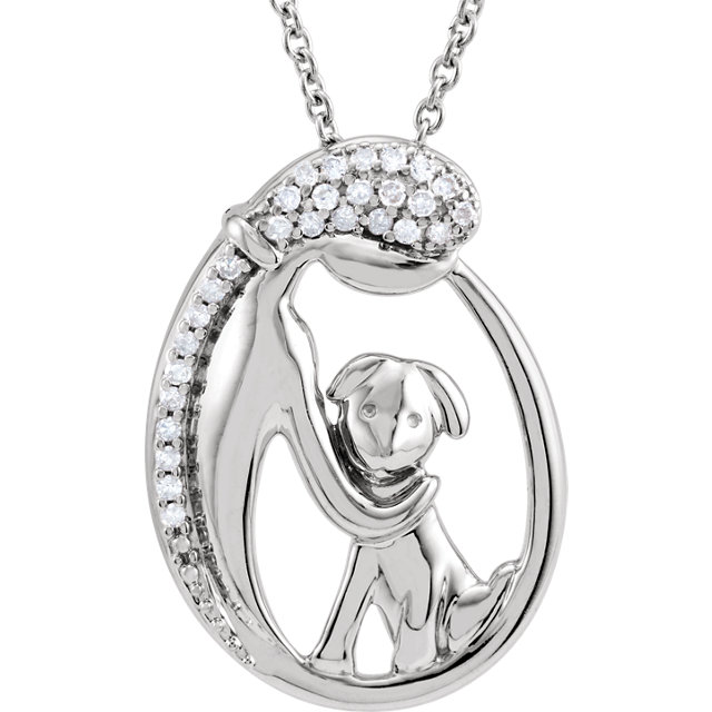 Sterling Silver 1/10 CTW Diamond Silhouette of Lady & Puppy 18