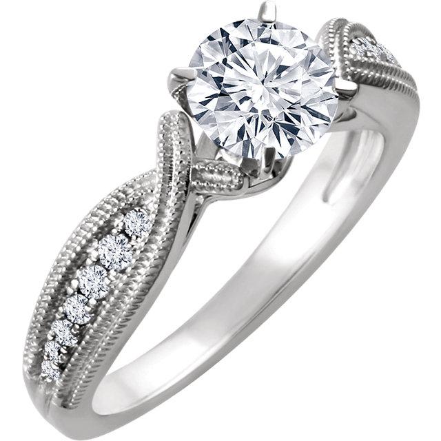 14K White 1/6 CTW Diamond Band for 6.5mm Round Ring