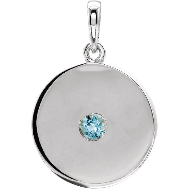 14K White Aquamarine Disc Pendant