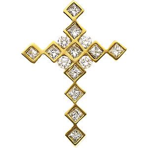 Pendant, 14K Yellow .66 CTW Diamond Cross Pendant