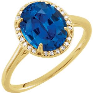 Fashion Rings , 14K Yellow Chatham® Created Blue Sapphire & .07 CTW Diamond Ring