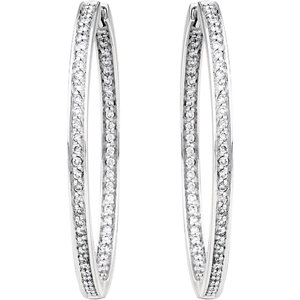 14K White 24mm 3/8 CTW Diamond Inside/Outside Hoop Earrings
