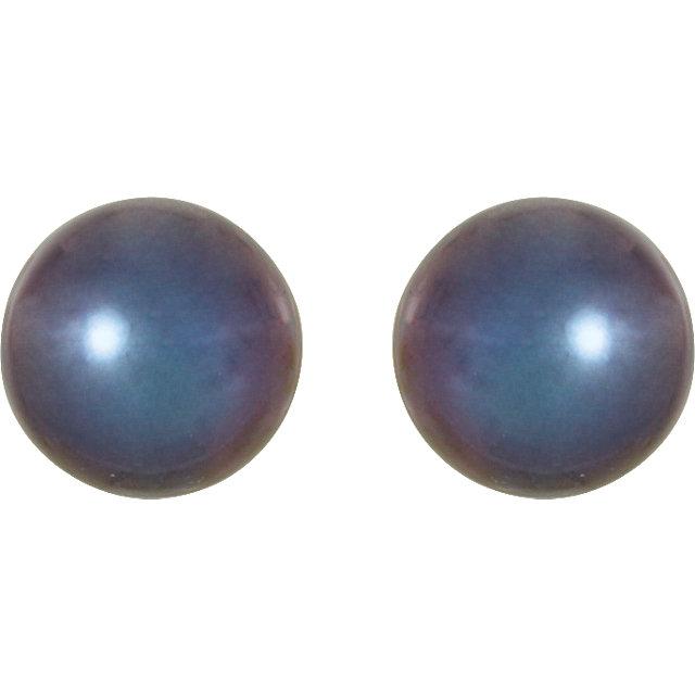 14K Yellow 5.5-6mm Black Freshwater Cultured Pearl Earrings