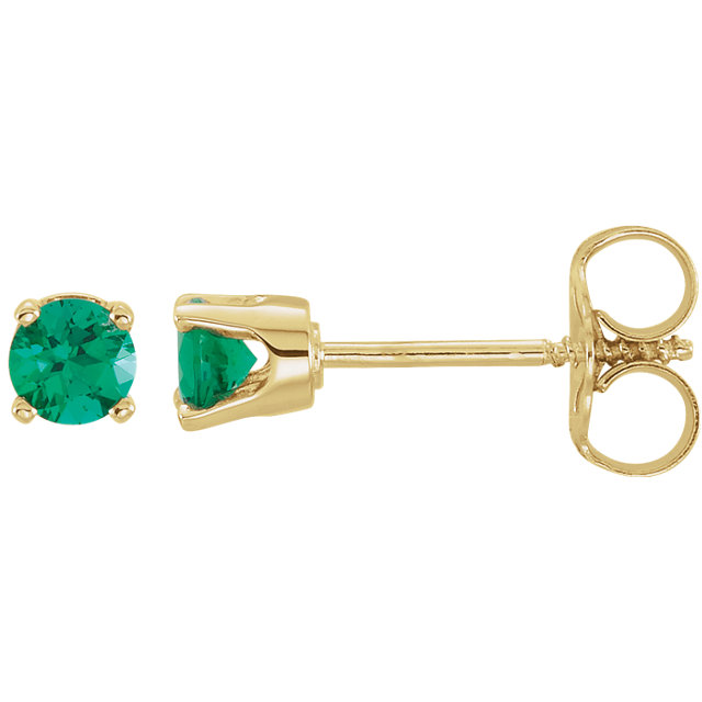 14K Yellow Imitation Emerald Earrings