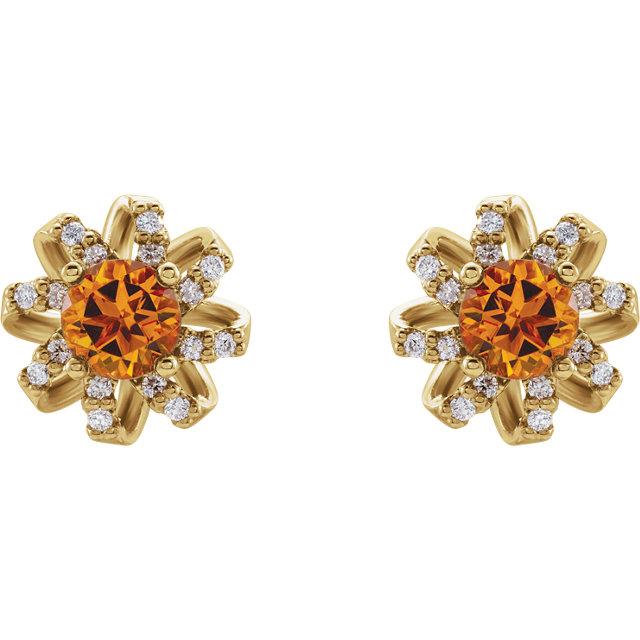 14K Yellow Citrine & 1/8 CTW Diamond Halo-Style Earrings