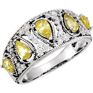 Fashion Rings , 14K White Canary Yellow Sapphire & 1/3 CTW Diamond Ring