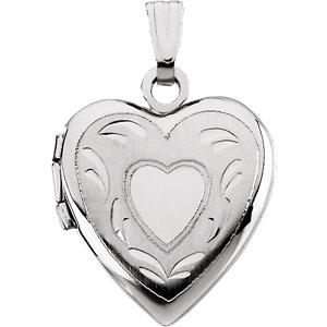 14K White 17.50x14.75mm Heart Locket