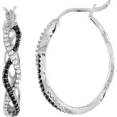 Black Spinel & Diamond Hoop Earrings
