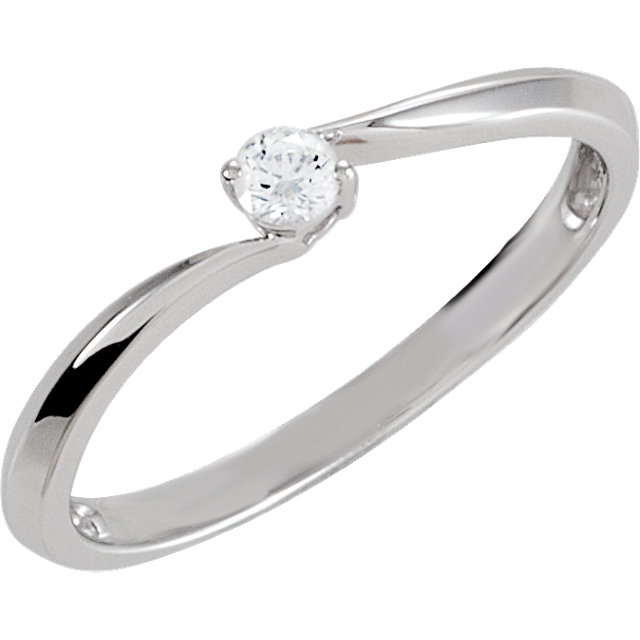 Sterling Silver Cubic Zirconia Bypass Ring Size 7
