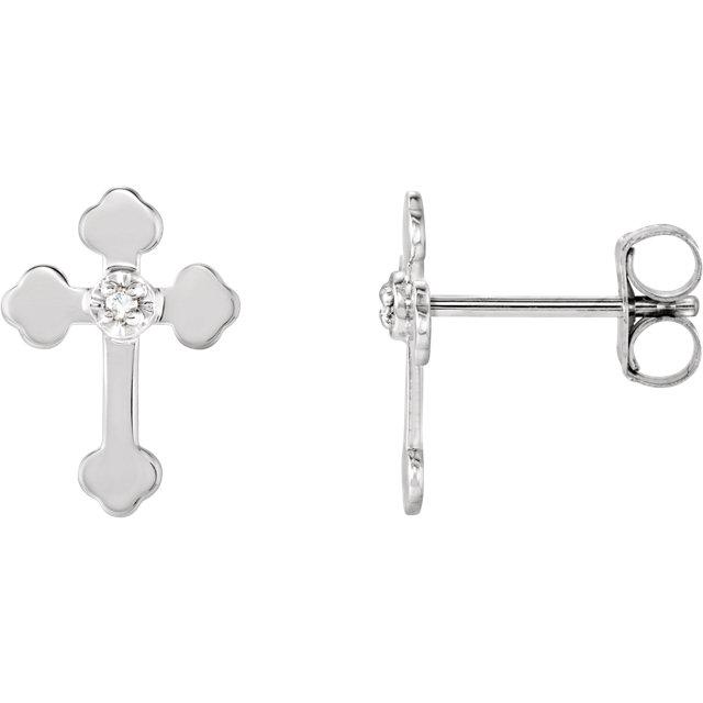14K White .01 CTW Diamond Cross Earrings