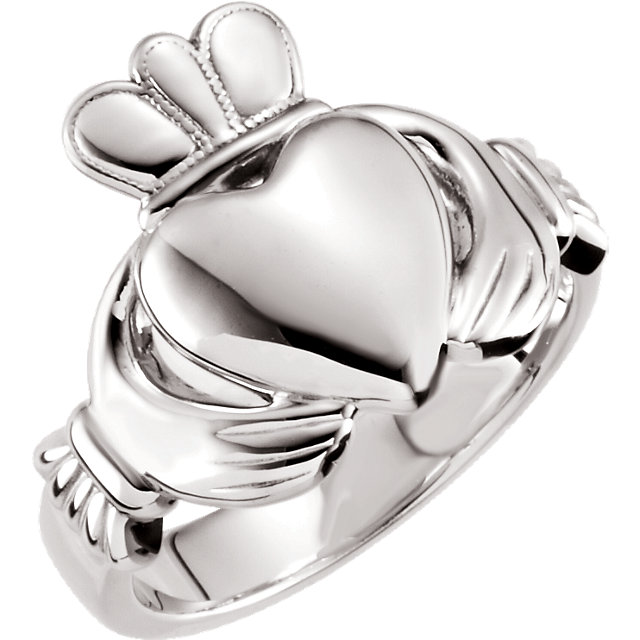 Sterling Silver 8.5 mm Claddagh Ring Size 12