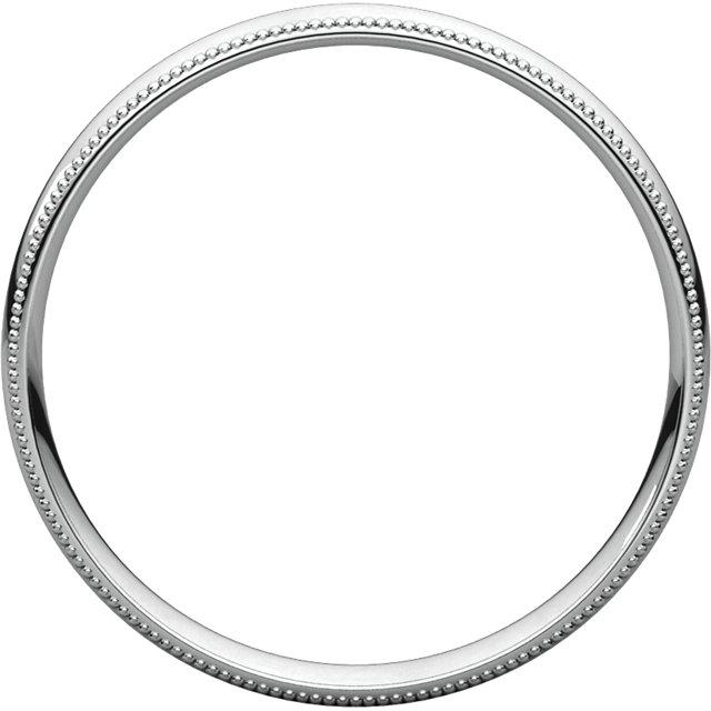 14K White 3 mm Milgrain Half Round Comfort Fit Light Band Size 7