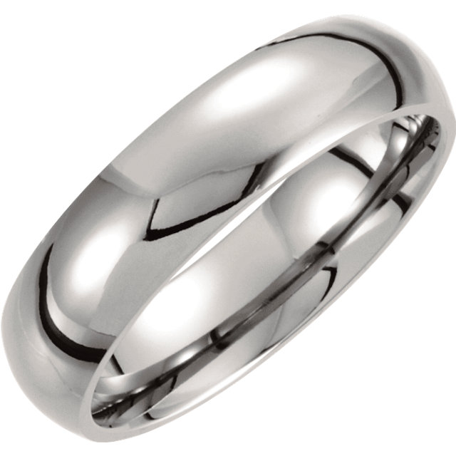 Titanium 6mm Domed Polished Band Size 6