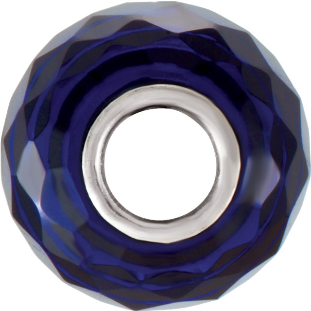Sterling Silver 11x15.5 mm Faceted Sapphire-Colored Glass Bead