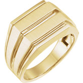 Men's Open Back Grooved Signet Ring