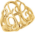 14K Yellow Gold-Plated Sterling Silver 18 mm 3-Letter Script Monogram Ring