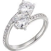 Charles & Colvard Moissanite® & Diamond Accented Two-Stone Engagement Ring
