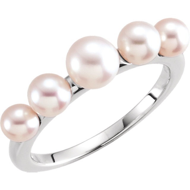 14K White Five-Stone Pearl Ring
