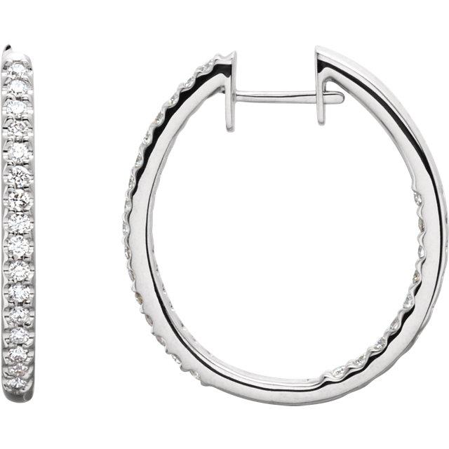 14K White 3/4 CTW Diamond Hinged Inside-Outside Hoop Earrings
