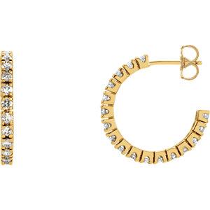 14K Yellow 1 CTW Diamond Hoop Earrings