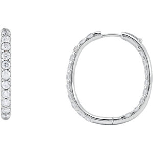 Earrings , 14K White 3 CTW Diamond Inside/Outside Hoop Earrings