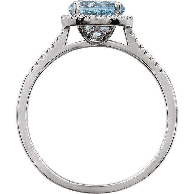 Sterling Silver Sky Blue Topaz & .01 CTW Diamond Ring