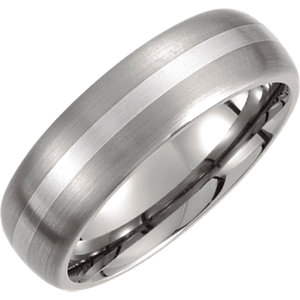 Titanium & Sterling Silver Inlay 7mm Satin Finish Domed Band Size 8