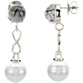 Freshwater Cultured Pearl & Tourmalinated Quartz Earrings