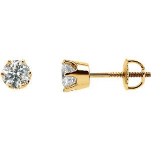 Earrings , 14K Yellow 1 CTW Diamond Threaded Post Stud Earrings