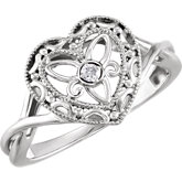 Granulated Filigree Heart Ring
