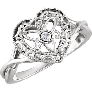 Sterling Silver .025 CTW Diamond Heart Ring Size 6