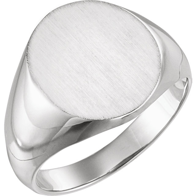 Sterling Silver 22x20mm Solid Oval Men-s Signet Ring