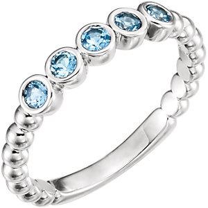 Fashion Rings , Sterling Silver Aquamarine Bezel-Set Beaded Ring
