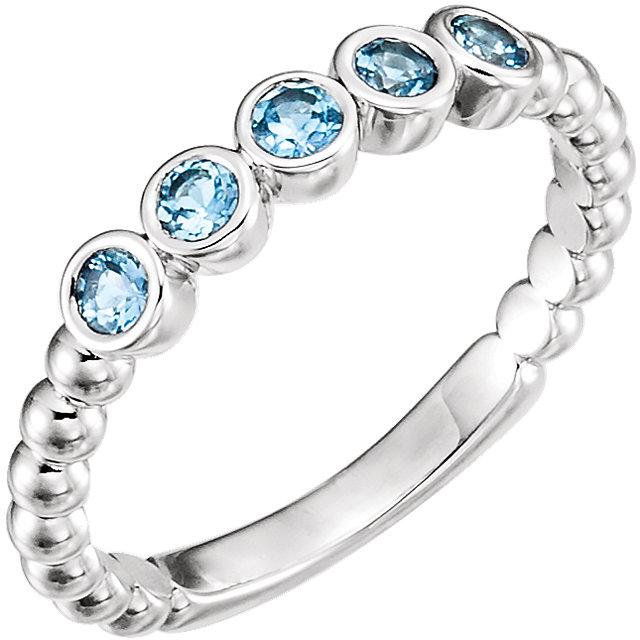 14K White Aquamarine Bezel-Set Beaded Ring