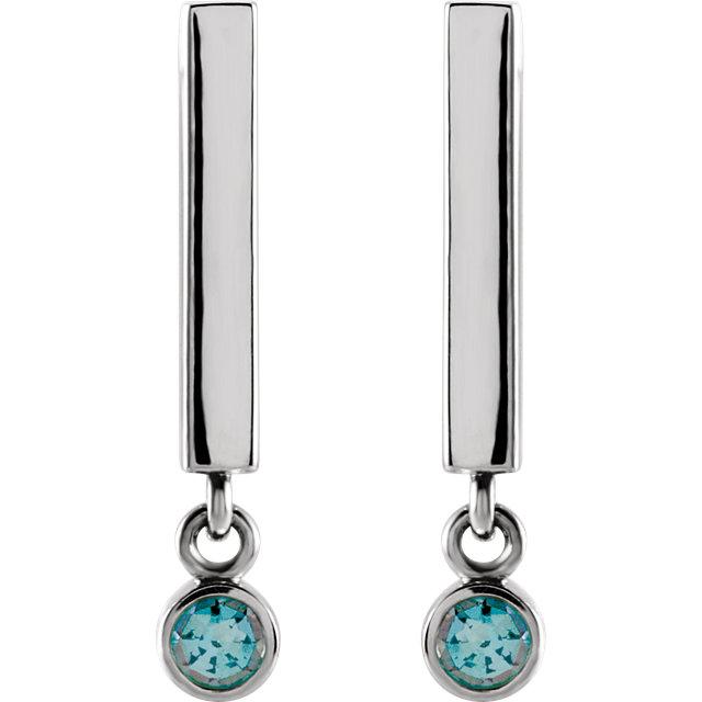 14K White Aquamarine Dangle Earrings